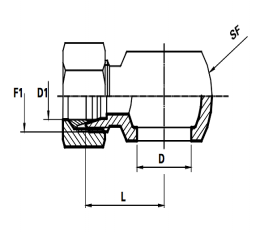 Banjo koppeling Metrisch  Male DIN 24°Body only  (Koppelingsmaat 1: M14, Koppelingsmaat 2: L08)