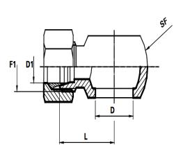 Banjo koppeling Metrisch  Male DIN 24°Body only  (Koppelingsmaat 1: M22, Koppelingsmaat 2: L12)