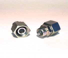 Rechte reduceerkoppeling met O-ring Male/Female DIN 24° Body only (Koppelingsmaat 1: L28, Koppelingsmaat 2: L22)