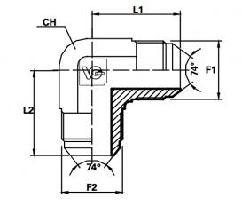 Haakse koppeling male JIC / male JIC (Koppelingsmaat 1: 7/8'', Koppelingsmaat 2: 7/8'')