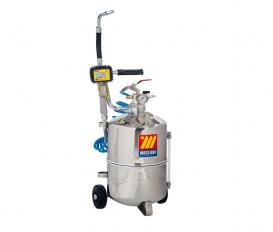 Pneumatische olie dispenser 24 liter RVS met digitaal mondstuk